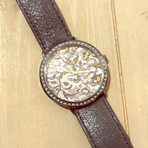 Guess Navy Blue Sparkle Leather Band Watch